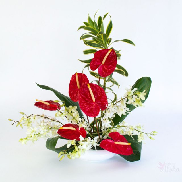 With Our Aloha - Hawaiian flowers in red and white with foliage