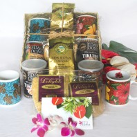 Kona coffee gift basket for two