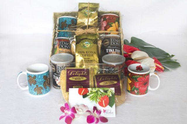 Kona coffee gift basket for two