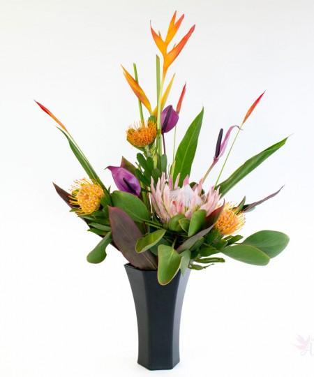 Hawaiian protea assortment with heliconia