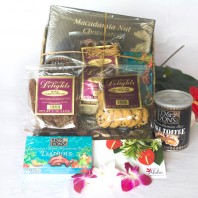 Hawaiian gift basket lauhala with Hawaiian chocolates, macadamia nuts