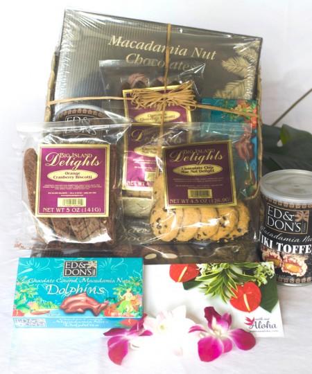 Hawaiian gift basket lauhala with Hawaiian chocolates, macadamia nuts