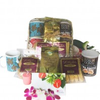Hawaiian Kona Coffee gift basket with cookies and candy