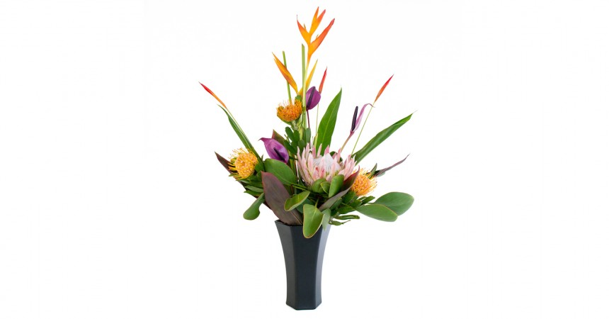 Hawaiian flowers with protea, heliconia