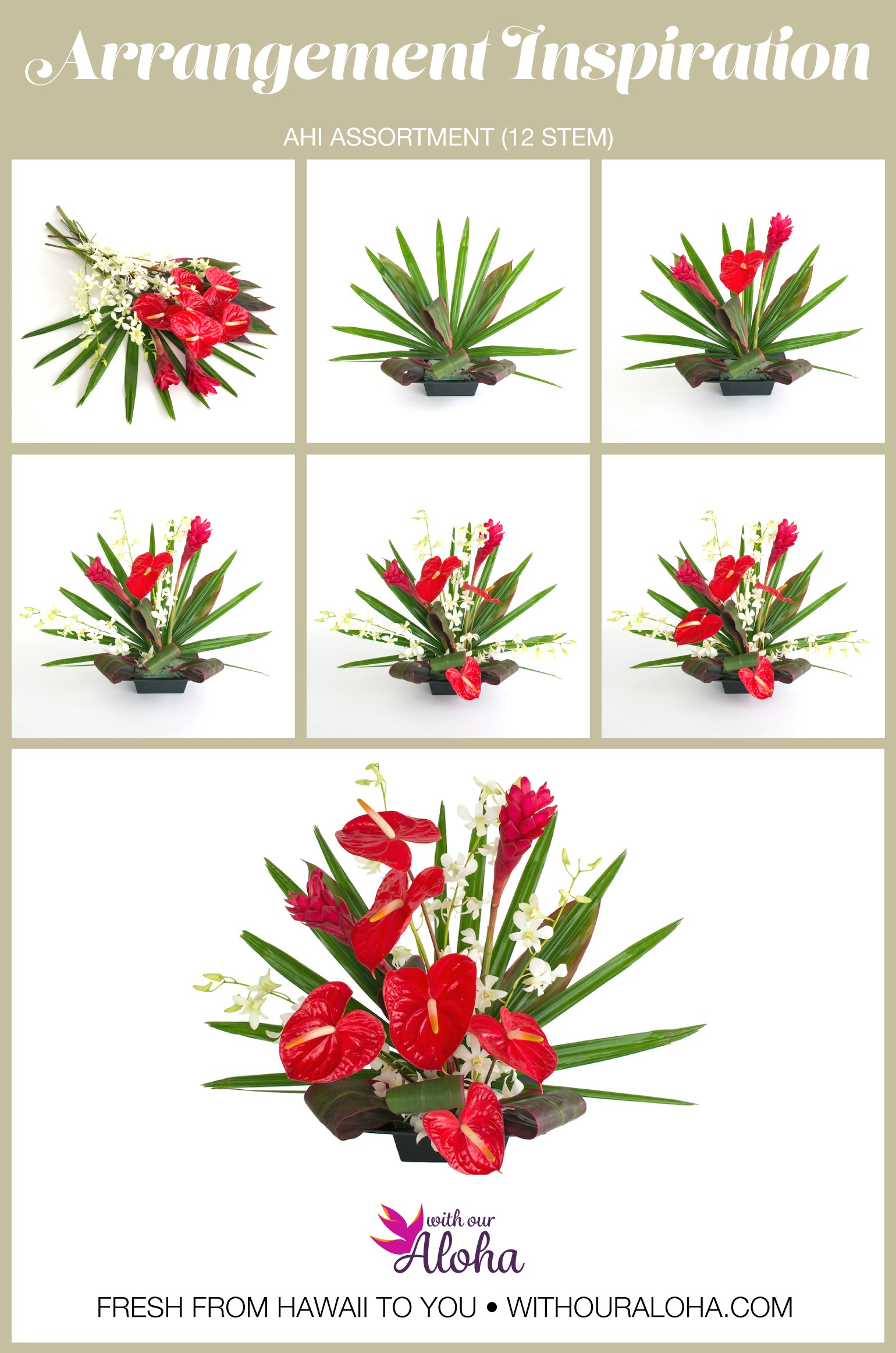 Red Anthurium White Orchids DIY - With Our Aloha