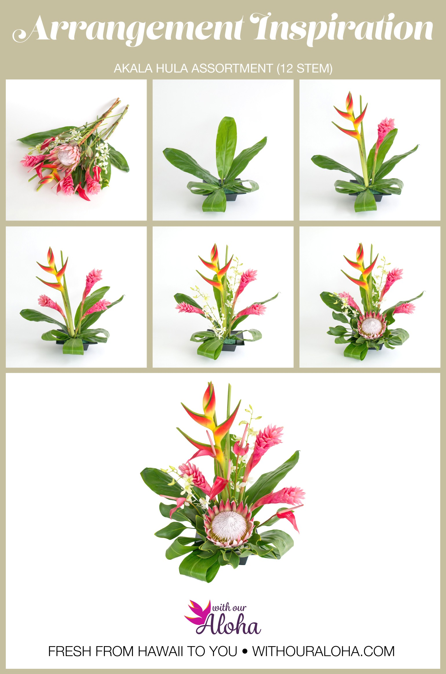 King Protea Pink Orchids DIY - With Our Aloha