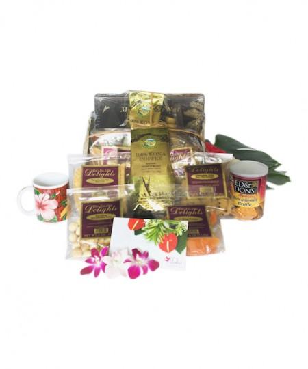 Hawaiian Gift basket large chocolate mac nuts Kona coffee lauhala