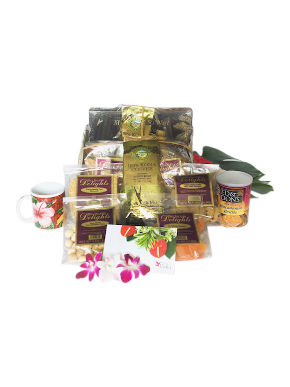 Hawaiian Gift basket large chocolate mac nuts Kona coffee lauhala