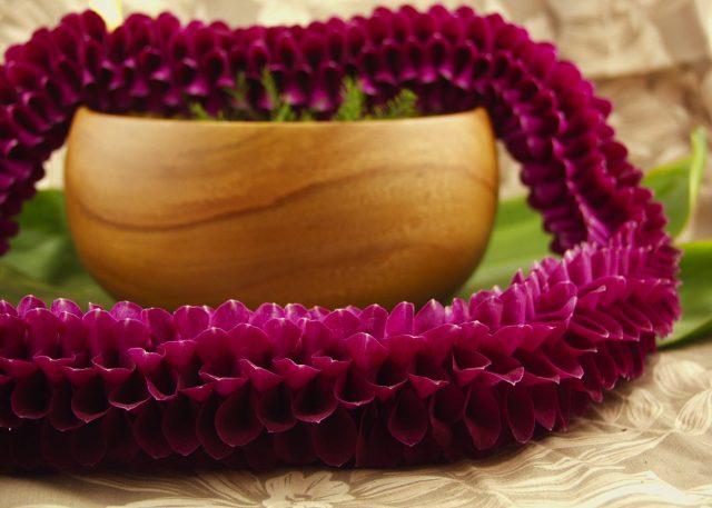 Melissa lei deep purple orchids