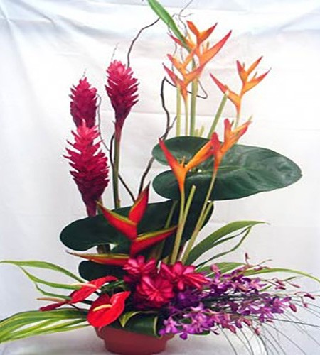 Hawaiian Flowers for Honolulu Delivery with ginger, orchid, heliconia