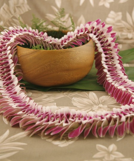 Natural orchid lei wide