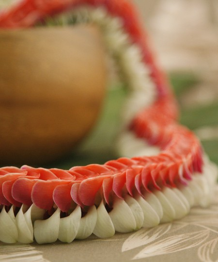red and white Hawaiian lei Kapalua style